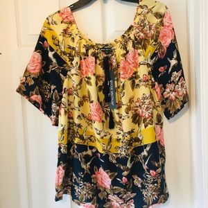 NWT Beautiful yellow floral off the shoulder top